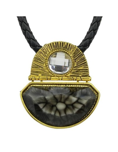 Black Pu Chain Pendant Necklace