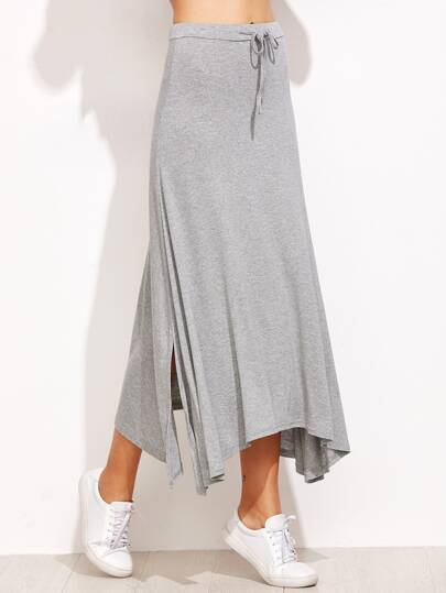 Grey Drawstring Split Hem Asymmetrical Skirt