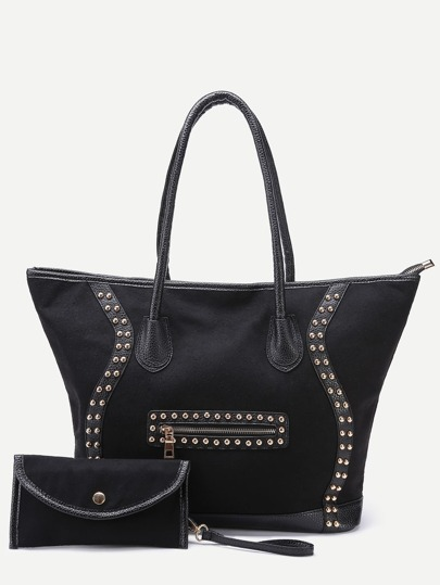 Black Cloth Studded Front Zipper Tote Bag With Clutch