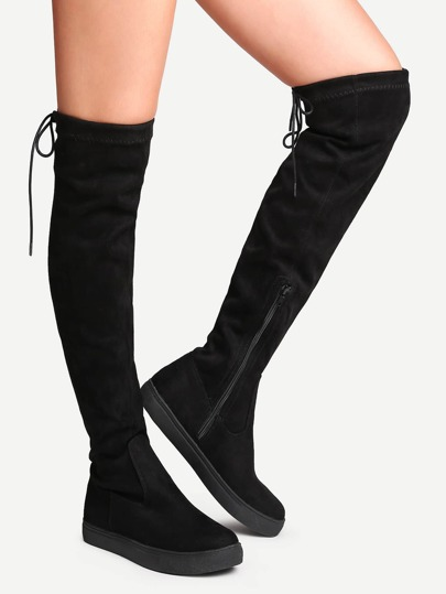 Black Round Toe Tie Back Over The Knee Boots