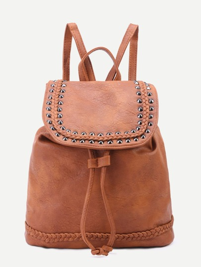 Brown PU Studded Drawstring Flap Backpack