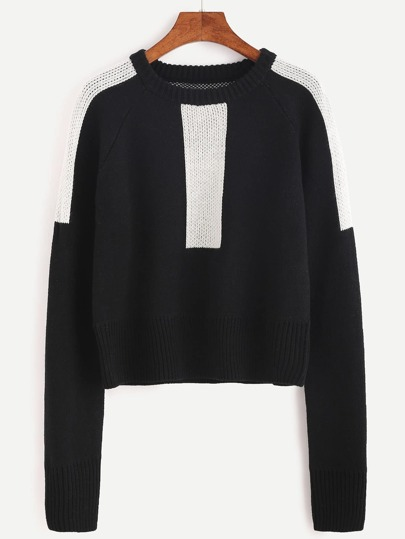 Black Color Block Raglan Sleeve Sweater