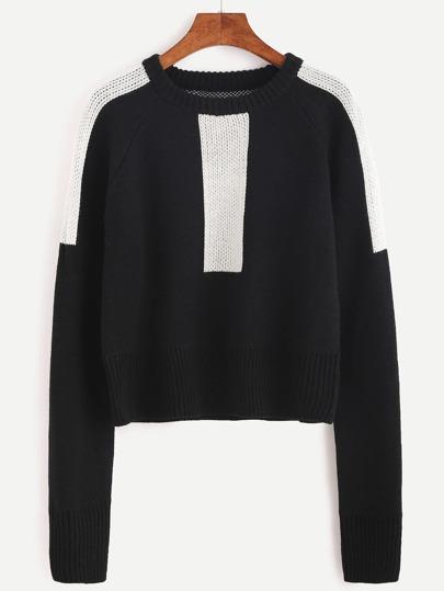 Pull couleur bloc manche raglan - noir
