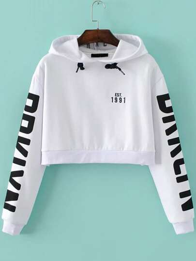 White Letter Print Hooded Crop Sweatshirt