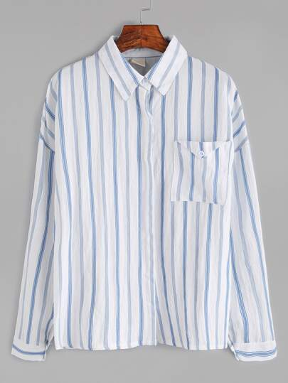 Vertical Striped Drop Shoulder Pocket Shirt