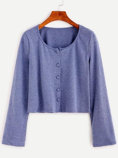 Blue Single Breasted Crop Knitwear