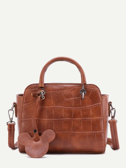 Brown Embossed PU Mickey Trim Handbag With Strap
