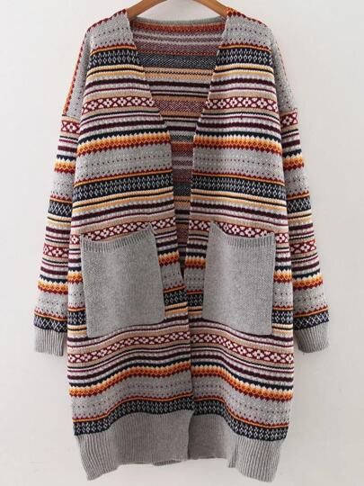 Grey Tribal Pattern Front Pocket Drop Shoulder Sweater Coat