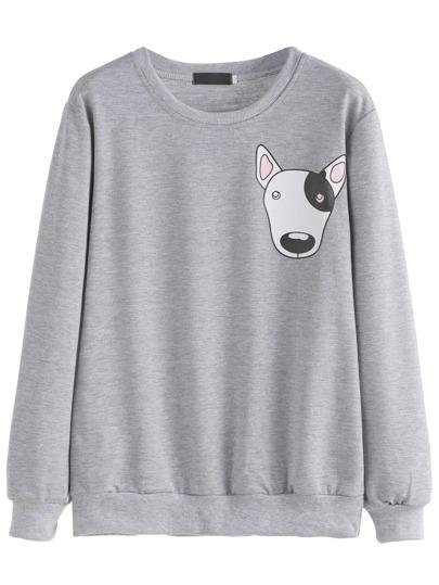 Grey Cartoon Dog Print Sweatshirt