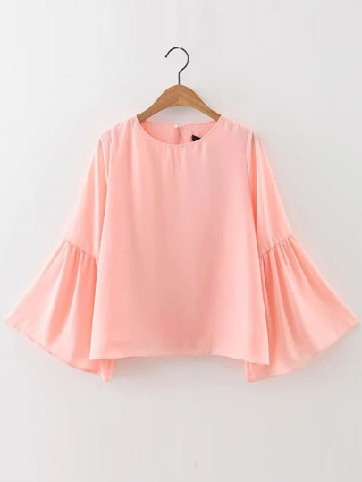 Pink Bell Sleeve Button Back Blouse