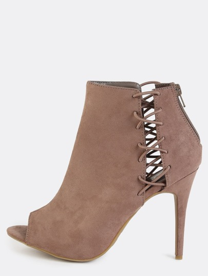 Laced Up Side Stiletto Booties TAUPE