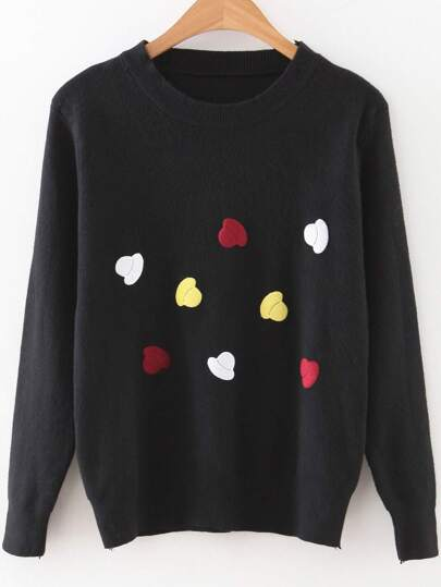 Black Cartoon Hat Print Round Neck Sweater
