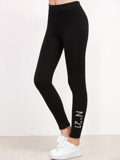 Чёрные модные леггинсы с вышивкой