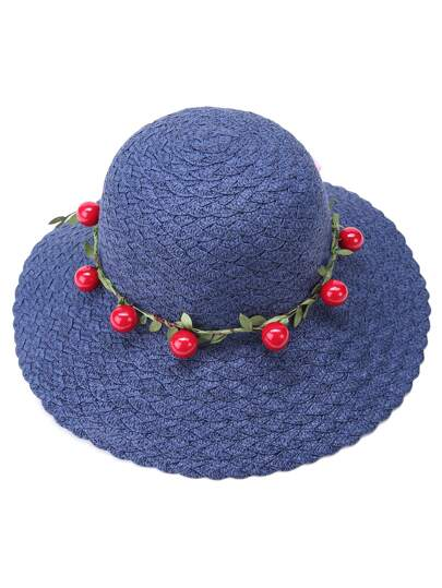 Navy Vacation Cherry Bow Trim Straw Hat