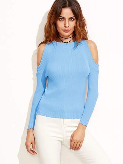 Pull tricoté à nervures épaules nues - bleu clair