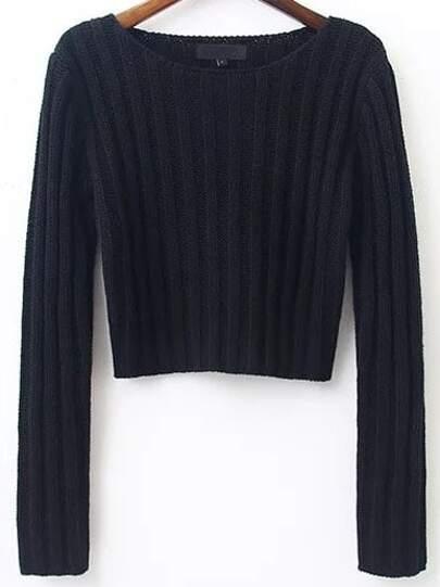 Pull tricoté à nervures col rond - noir
