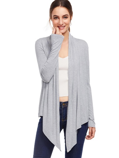 Grey Open Front Drape Cardigan Sweater