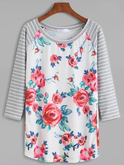 Модный джемпер с цветочным принтом с полосатым рукавом