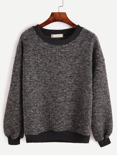 Contrast Trim Ribbed Slub Sweatshirt