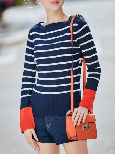 Navy White Striped Contrast Orange Sweater