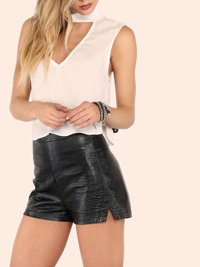 High Waisted Faux Croc Print Leather Shorts BLACK