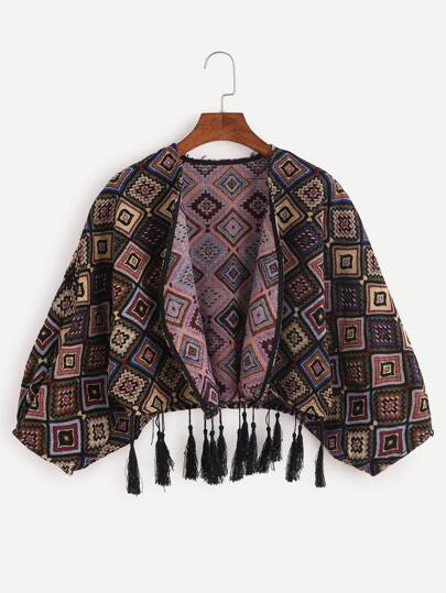 Geometric Print Batwing Sleeve Fringe Crop Coat
