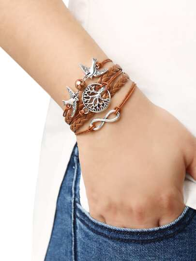 Brown Braid Tree Birds Bracelet