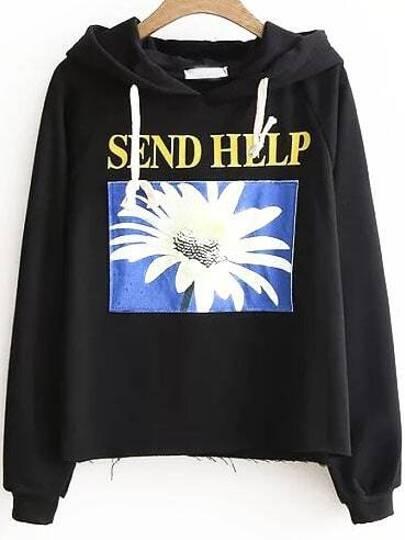 Black Daisy Raglan Sleeve Hooded Sweatshirt