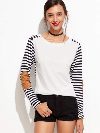 Contrast Striped Elbow Patch T-shirt