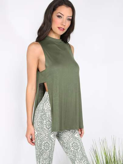 Army Green Split Side Cutout Back Tank Top