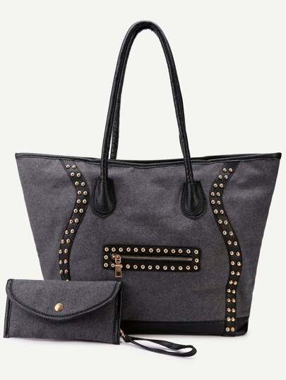 Black Cloth Studded Front Zipper Tote Bag With Purse