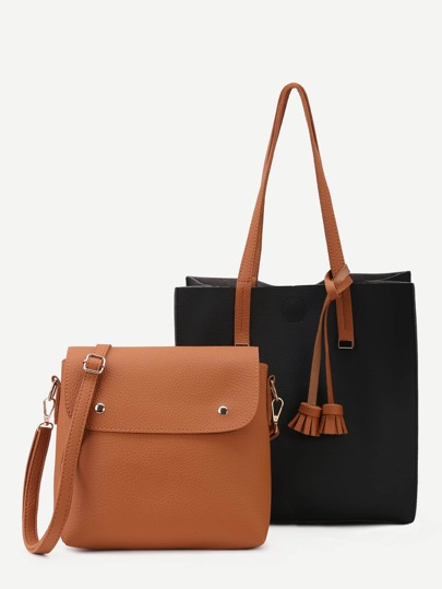 Black PU Tassel Trim Tote Bag With Crossbody Bag