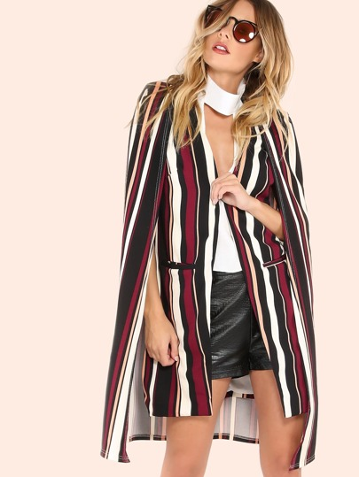 Striped Cape Vest Coat BURGUNDY
