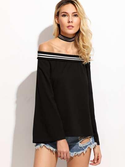 Black Striped Off The Shoulder T-shirt