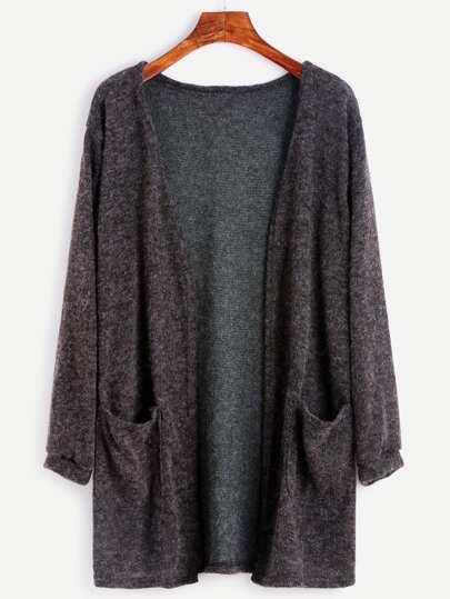 Cárdigan con bolsillo - gris oscuro