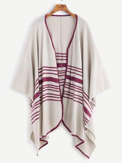 Apricot Contrast Trim Striped Pattern Poncho Cardigan