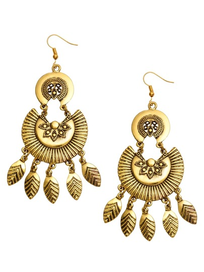 Antique Gold Carved Fringe Drop Earrings