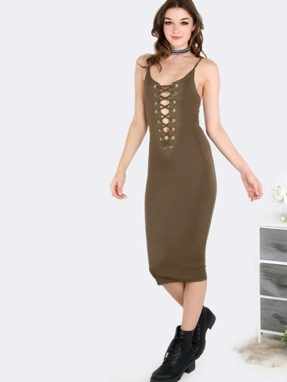 Lace Up Midi Dress OLIVE