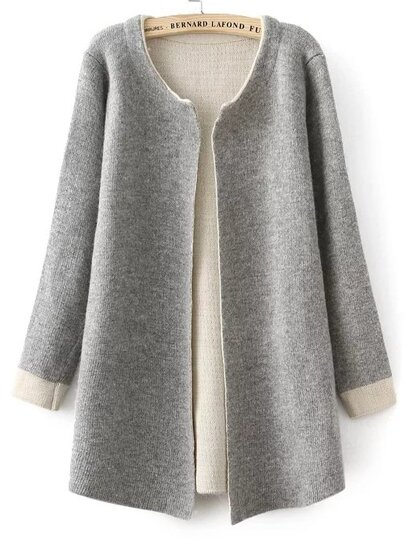 Grey Open Front Contrast Cuff Cardigan