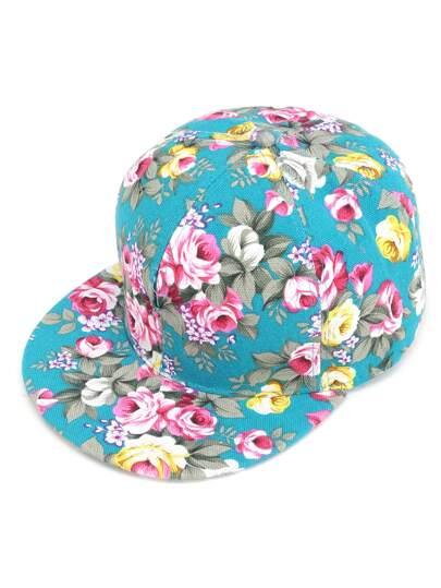 Turquoise Floral Print Baseball Cap
