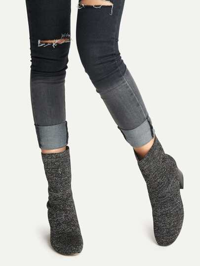 Black Knit Ankle Boots