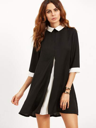 Black Contrast Collar And Cuff Swing Dress