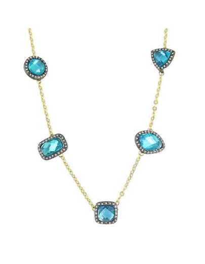 Blue Rhinestone Charm Necklace