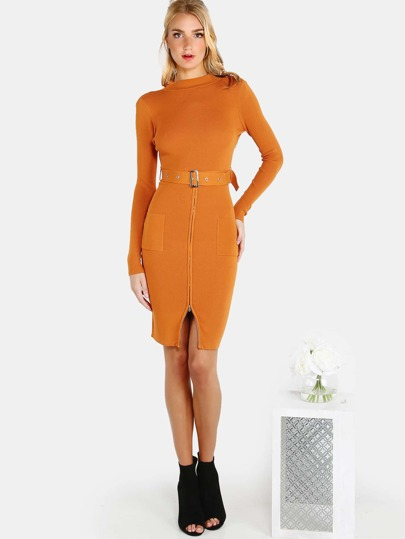 Mock Neck Belted Zip Dress PUMPKIN