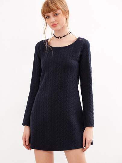 Navy Cable Pattern A-line Dress
