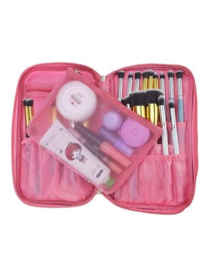 Pink Zipper Makeup Bag With Small Mesh Bag