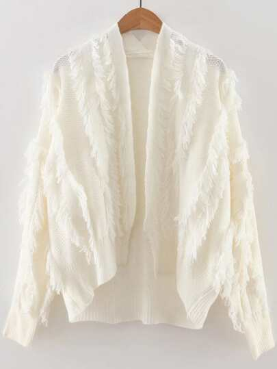 White Fringe Detail Open Front Cardigan