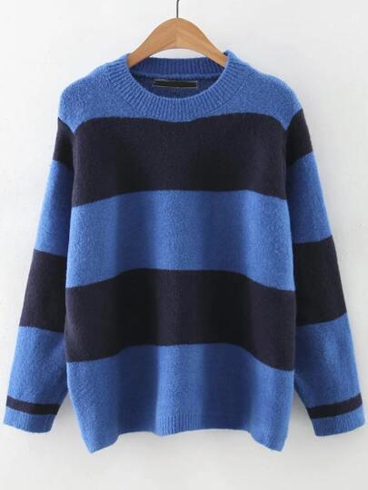 Blue Color Block Round Neck Sweater