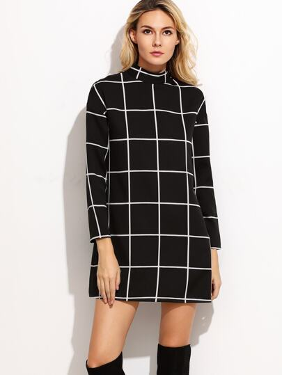Black Grid Mock Neck Tunic Dress