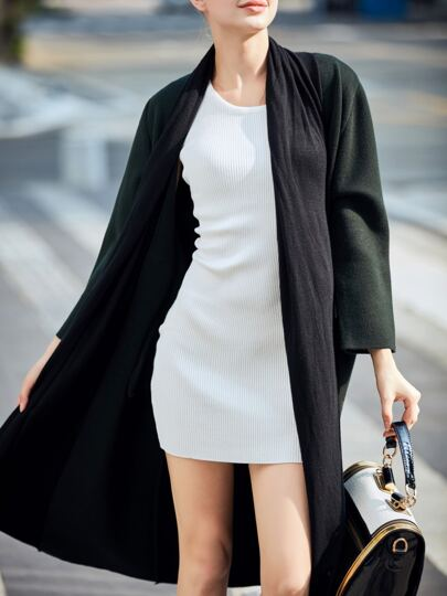 Dark Green Color Block Pockets Cardigan